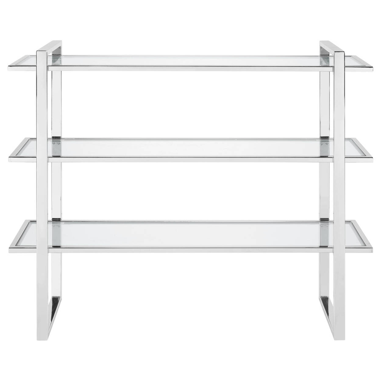 Console en verre et en chrome à trois étagères