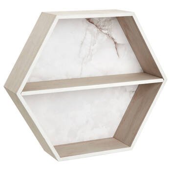 Hexagonal Marble-Effect Wall Shelf