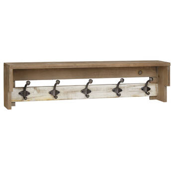 Wooden Shelf with Metal Hooks