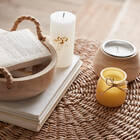 Natural Wood Candle Holder with Candle