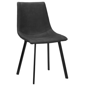 Chaise de salle à manger en similicuir texturé et en métal