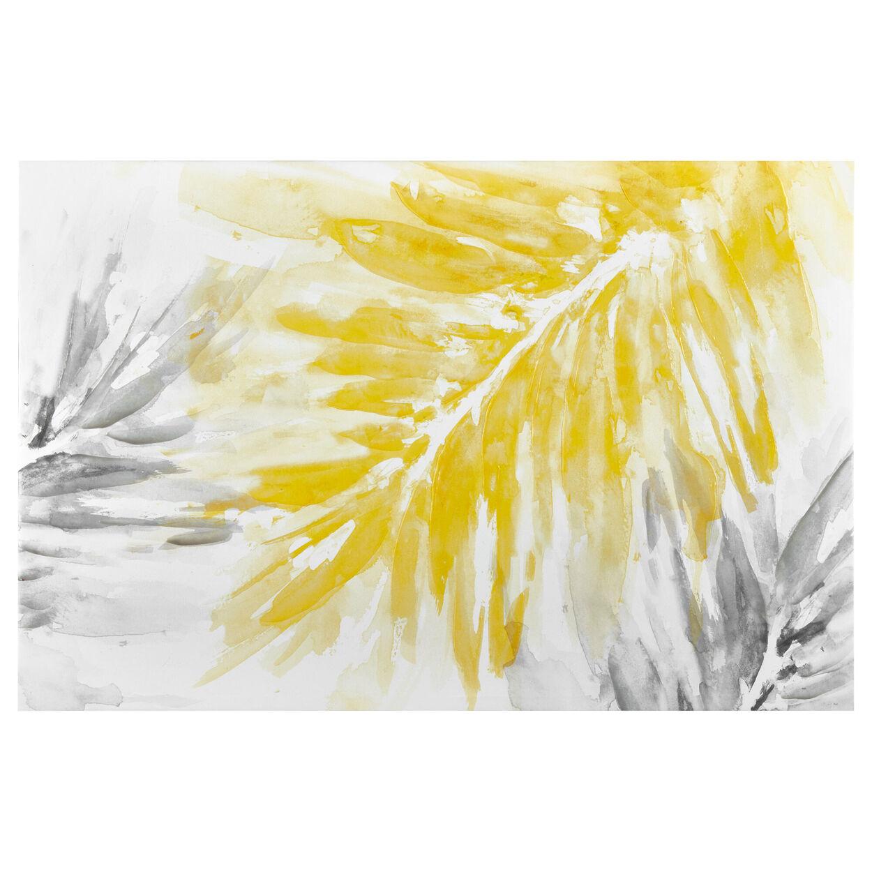 Gel Embellished Palm Leaves Printed Canvas