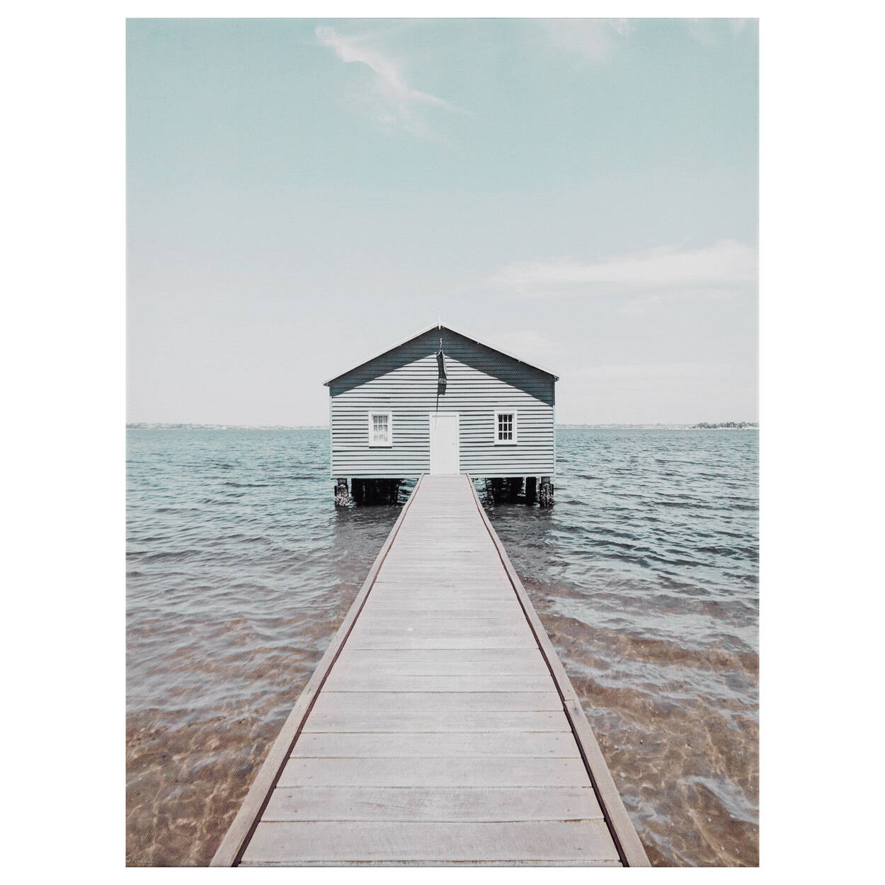 Lone Dock and House Printed Canvas