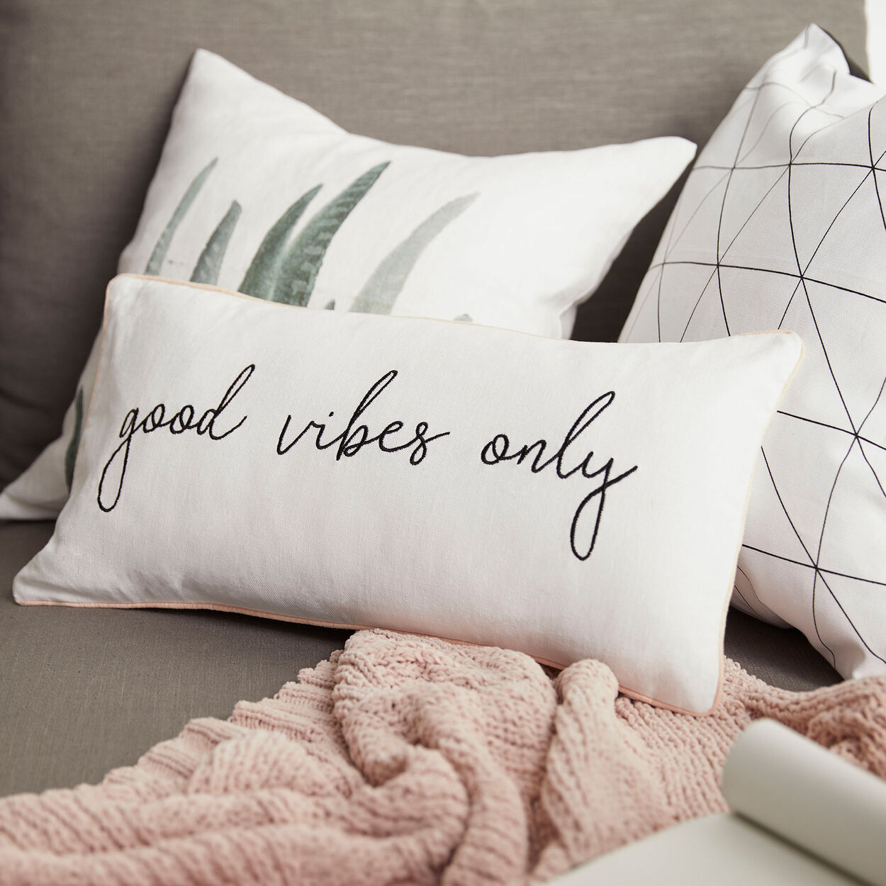 """Cynthia Dulude - Good Vibes Only Decorative Pillow 11"""" x 22"""""""