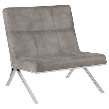 Faux Leather Lounge Chair with Metal Legs