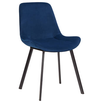 Chaise de salle à manger en velours avec base métallique