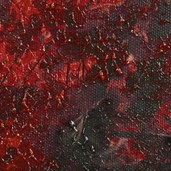Tableau imprimé d'un sentier dans la forêt rouge embelli en gel