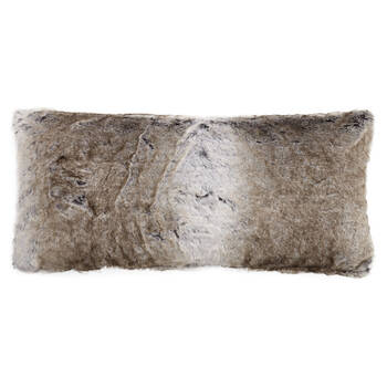 "Wolf Faux Fur Decorative Lumbar Pillow 15"" X 32"""