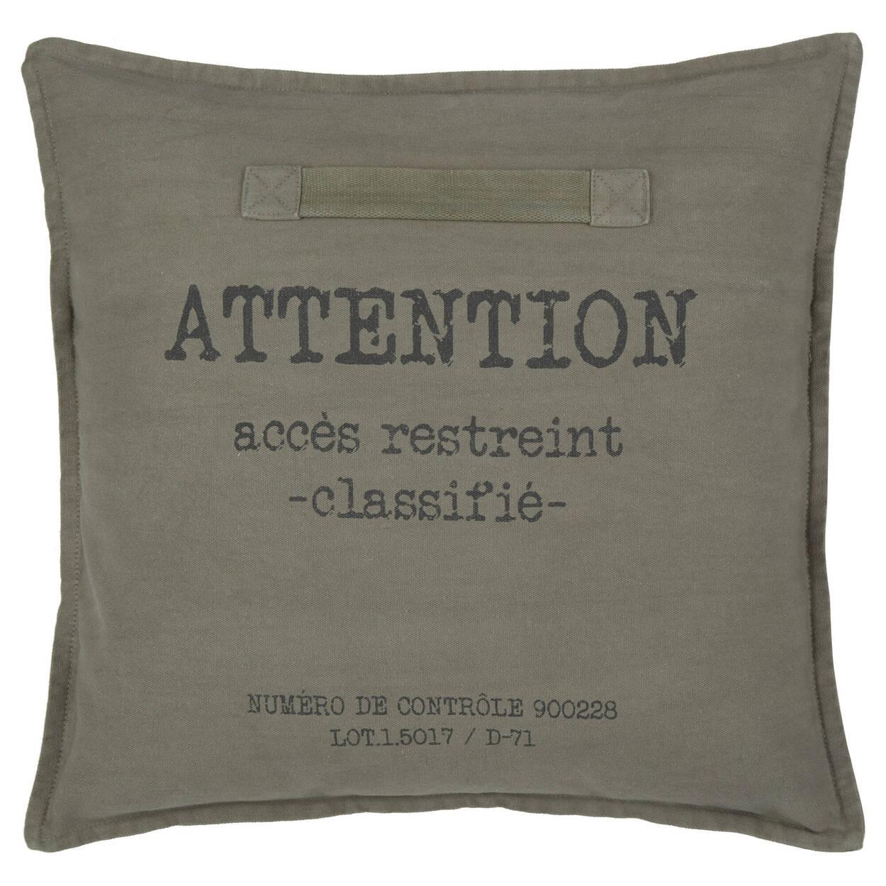 """Coussin décoratif Attention accès restreint 18"""" x 18"""""""