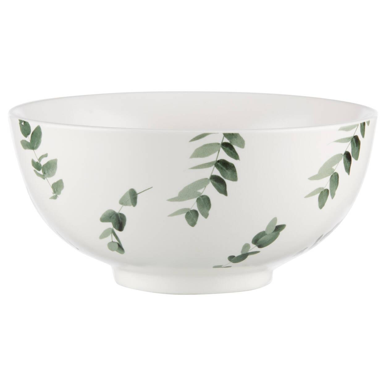 Bol blanc en céramique à imprimé feuilles
