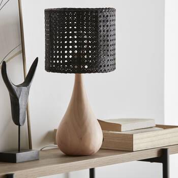 Teardrop Natural Wood Lamp Base