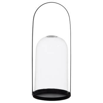 Porte-chandelle en verre avec poignet en métal