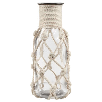 Glass Table Vase with Rope Accent