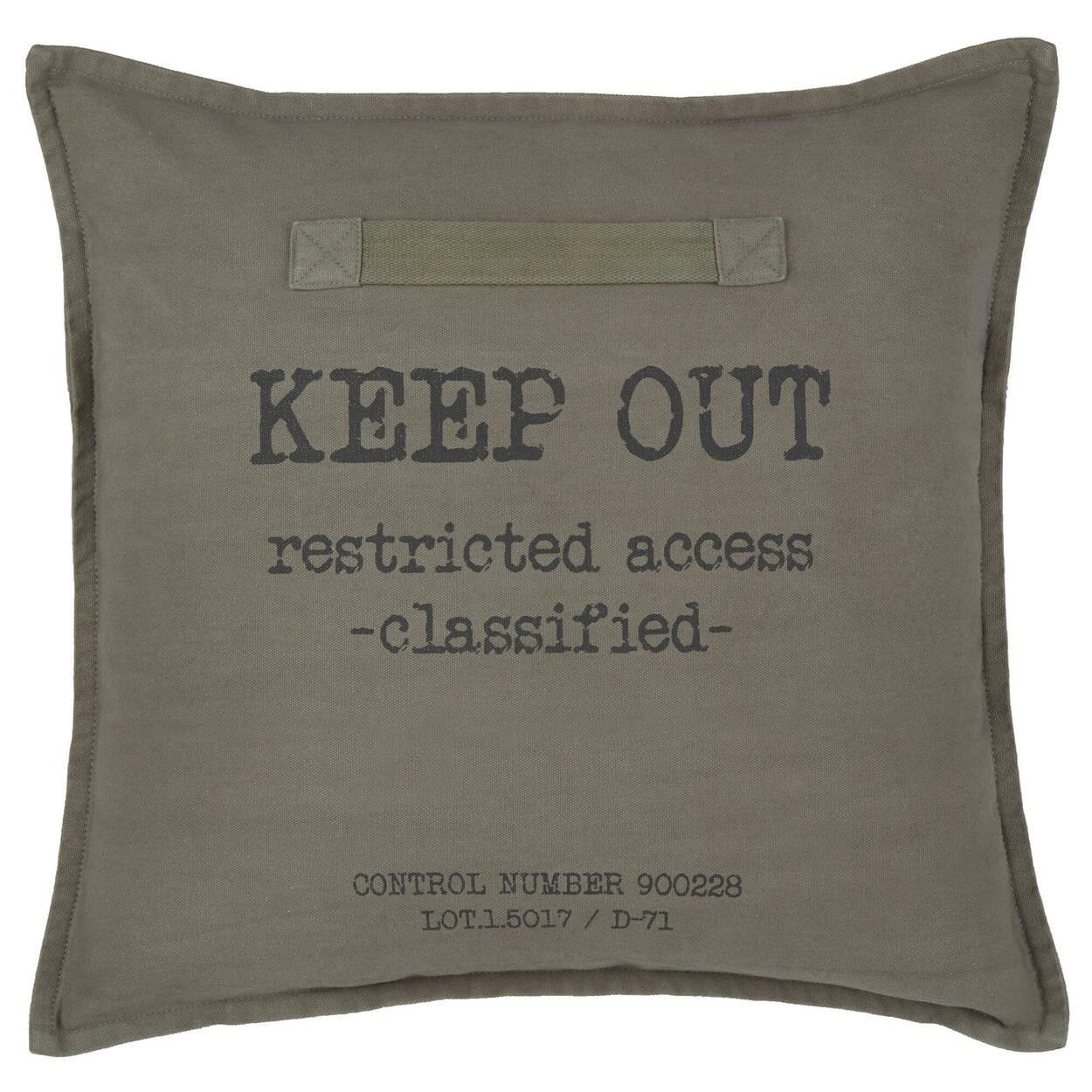 """Coussin décoratif Keep Out 18"""" x 18"""""""