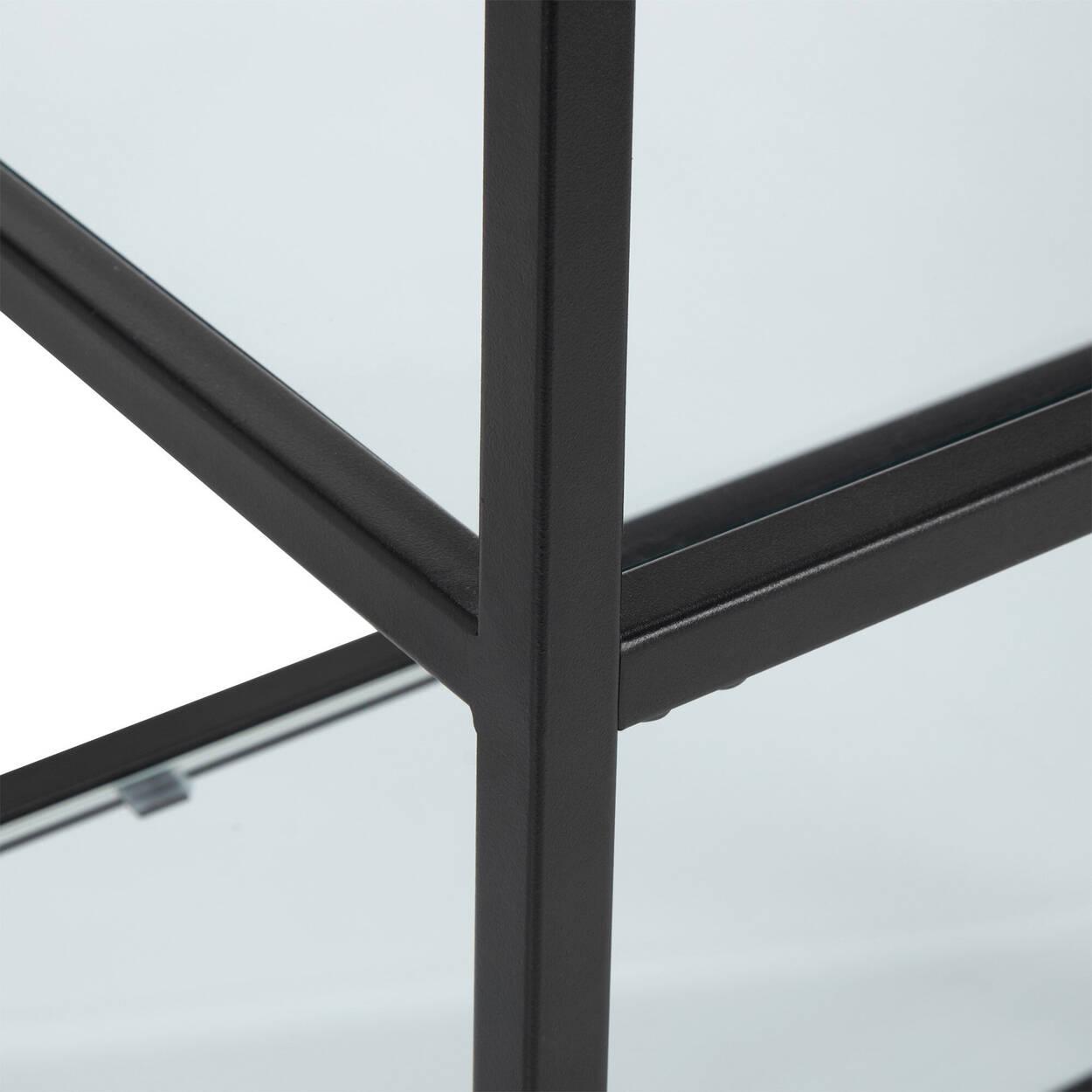 Console en verre trempé et en métal à 4 étagères