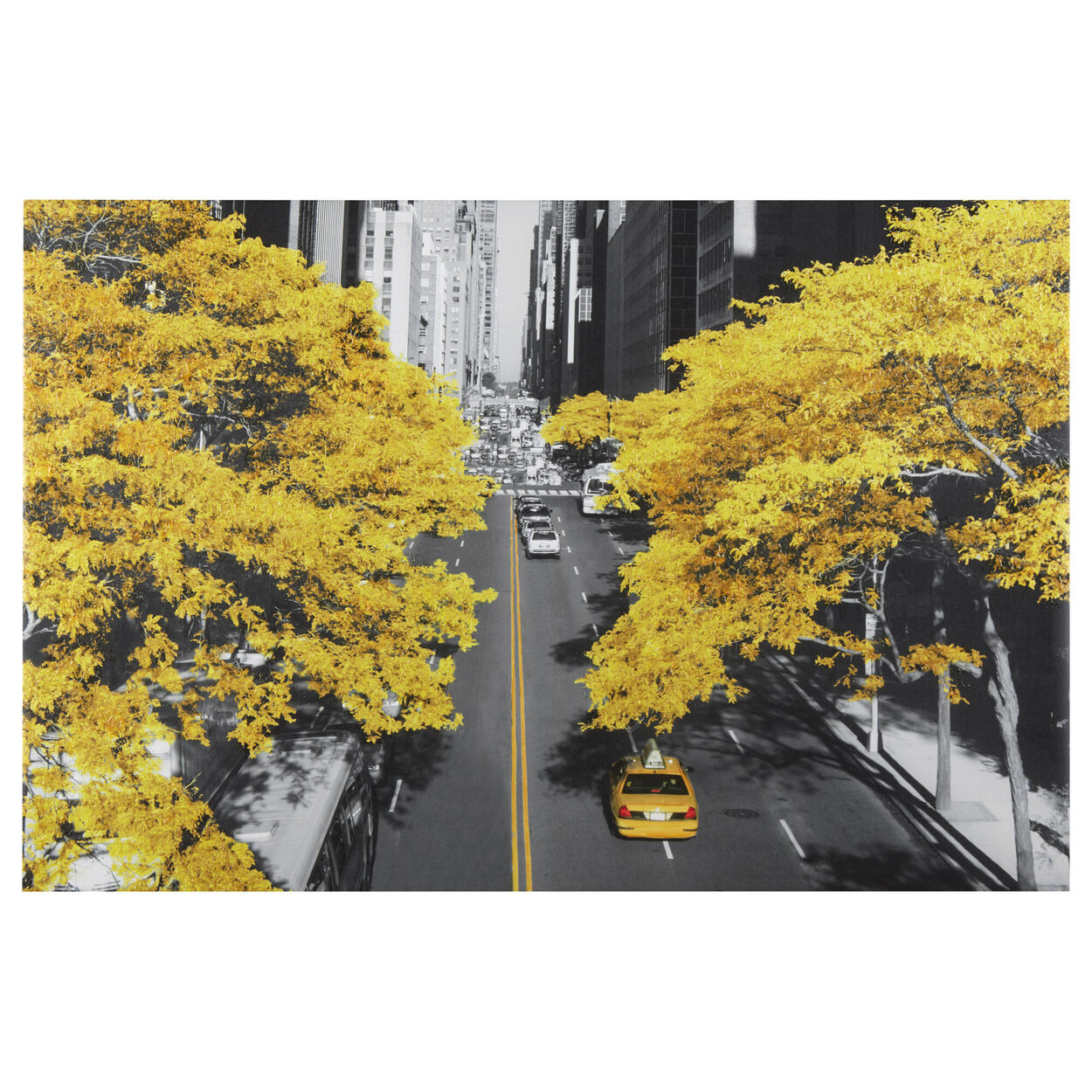 Yellow in New York Printed Canvas with Gel Embellishment