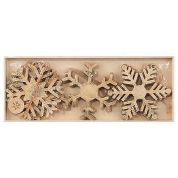 Ensemble de 9 ornements en bois en forme de flocons
