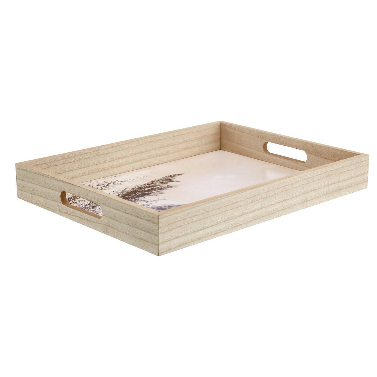 Plateau rectangulaire en bois naturel