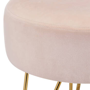 Velvet and Metal Hairpin Legs Ottoman