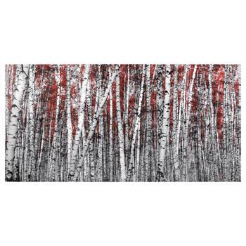 Tableau imprimé forêt de bouleaux rouge