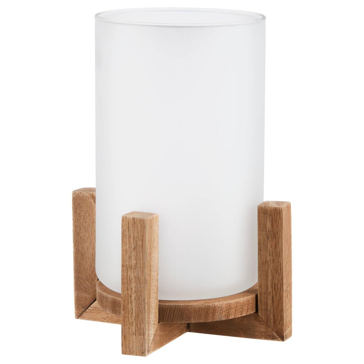 Porte-chandelle en verre givré sur base en bois