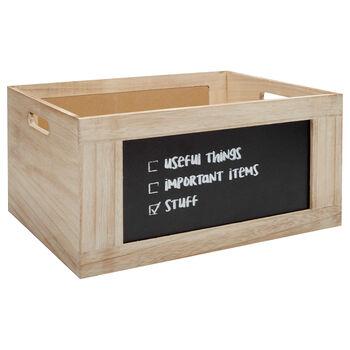 Moyenne caisse en bois avec tableau noir