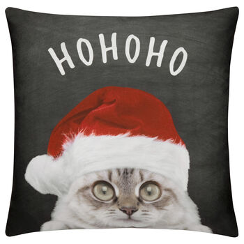 "Santa Cat Decorative Pillow Cover 18"" X 18"""