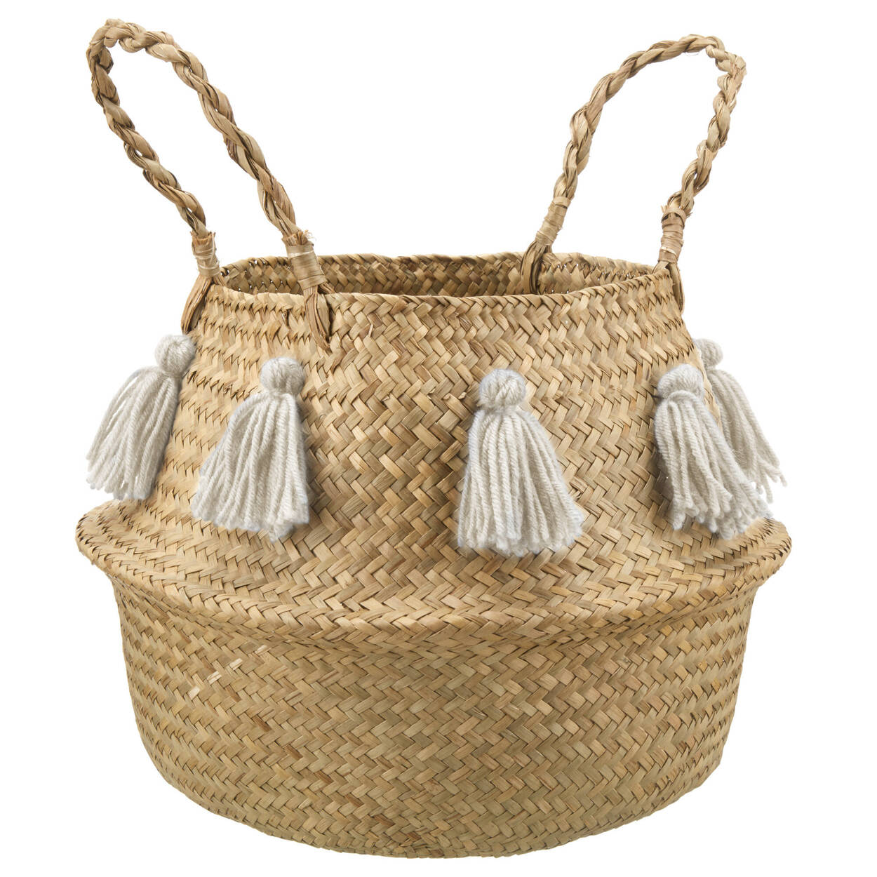 Seagrass Basket with Tassels and Handles