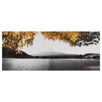 Yellow Tree and Mountain Printed Canvas