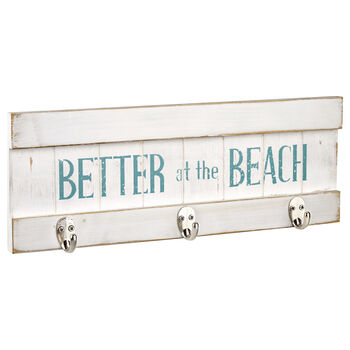 Set of 3 Hooks on Beach Wall Plaque