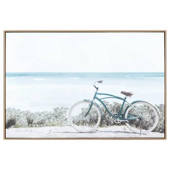 Bicycle on Beach Framed Canvas