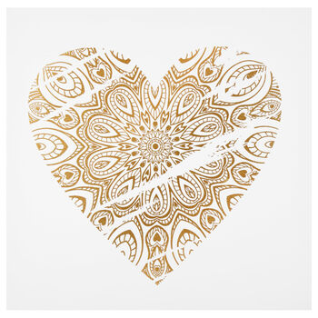 Mandala Heart Printed Canvas