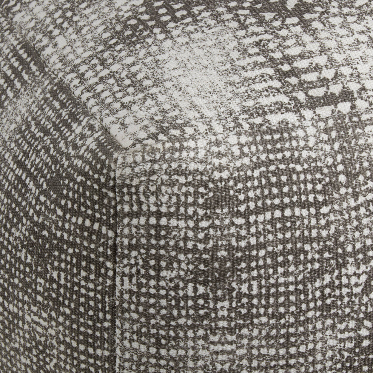Grey Square Ottoman with Print