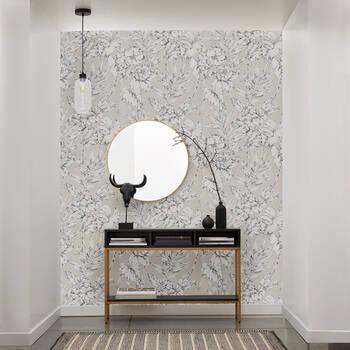 Floral Linen Look Wallpaper - Double Roll