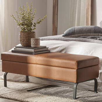 Faux Leather and Metal Storage Bench