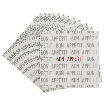 Pack of 20 Grey Bon Appétit Paper Napkins