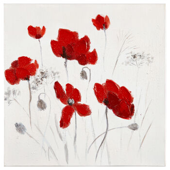 Red Floral Oil Painted Canvas I