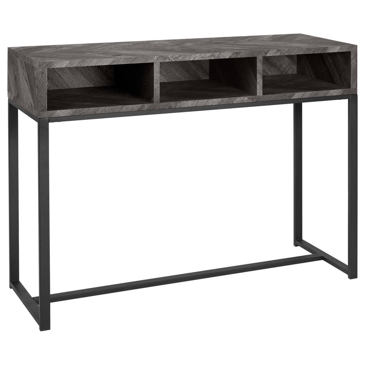 Wood Veneer And Iron Console Table With Three Cubbies Bouclaircom