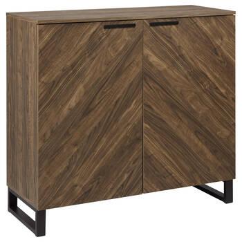Buffet à deux portes en bois chevrons et en métal