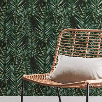 Papier peint autocollant feuilles tropicales foncées