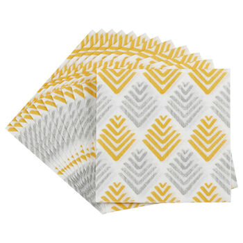 Set of 20 Grey and Yellow Table Napkins