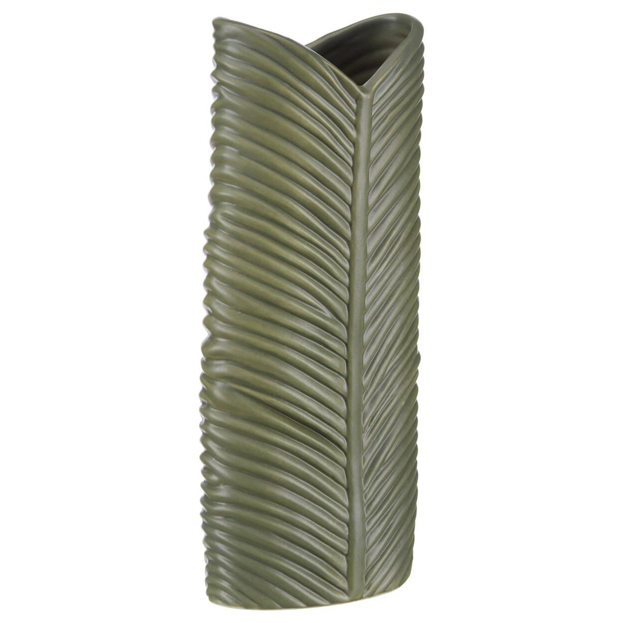 Vase en porcelaine verte forme de feuille