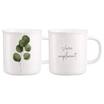 Set of 2 Mugs Ecalyptus and Writing