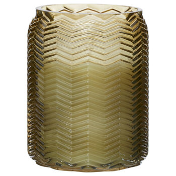 Candle in a Chevron Glass Pot