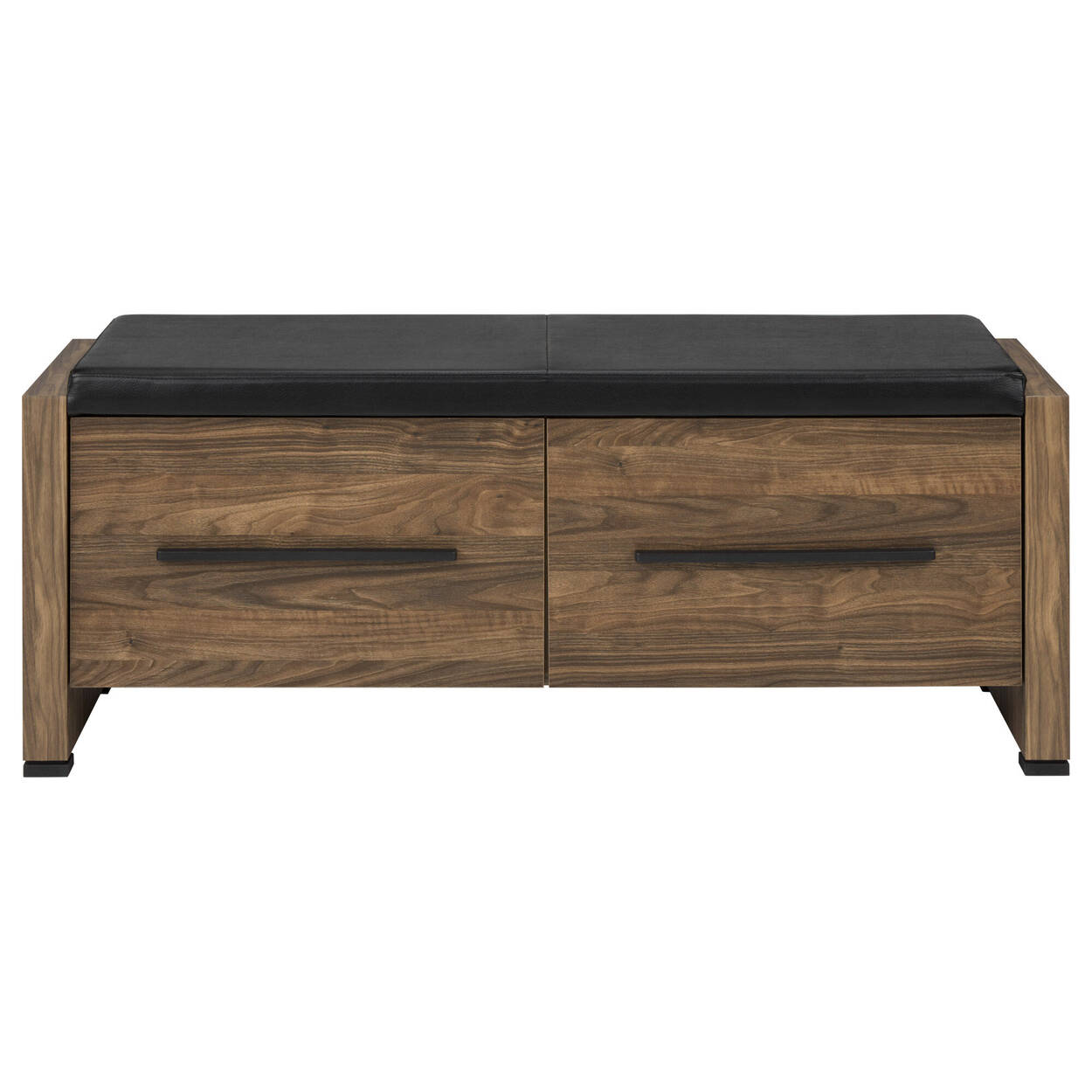 Faux Leather and Wood Storage Bench