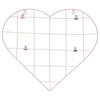 Panneau mural en métal avec pinces en forme de coeur