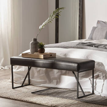 Faux Leather Bench with a Metal Base