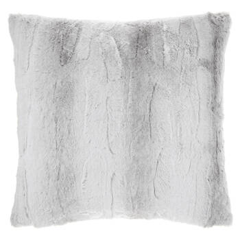 "Grey Rabbit Faux Fur Decorative Pillow 20"" x 20"""