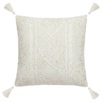 "Boho Knitted Decorative Pillow with Foil Embellishments 18"" X 18"""