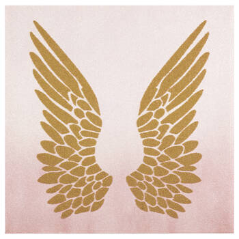 Wings Printed Glitter Canvas With Beads